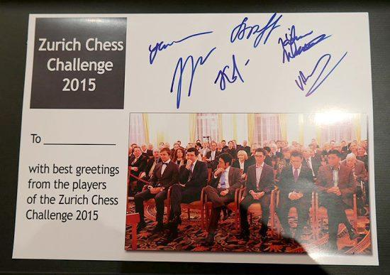 Commemorative postcard Zurich Chess Challenge 2015