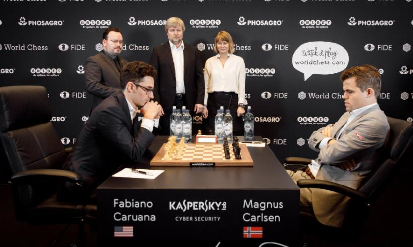 World Chess Championship 2018 Carlsen Caruana 1